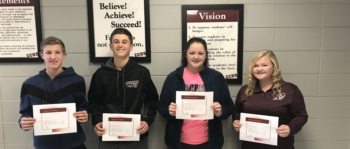 Carlisle County High School students of the month for October from left to right: Freshman, Evan Oliver Sophomore, Kannon Bowles Junior, Baylee Thorpe Senior, Mylinda Turner