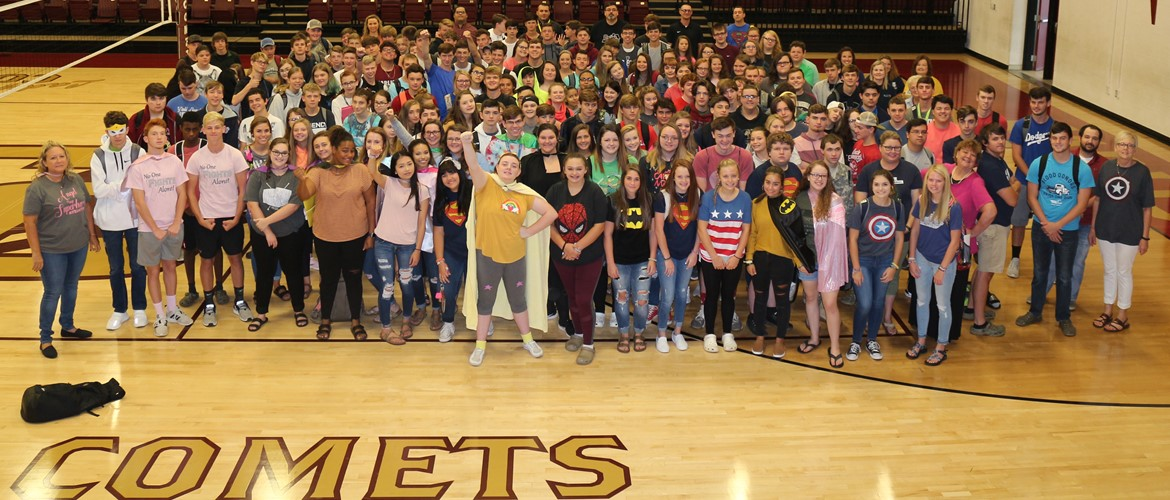 CCHS Students and Staff dress up as Super Heroes to show support for CCHS Guidance Counselor, Angel Thompson. #Team Angel