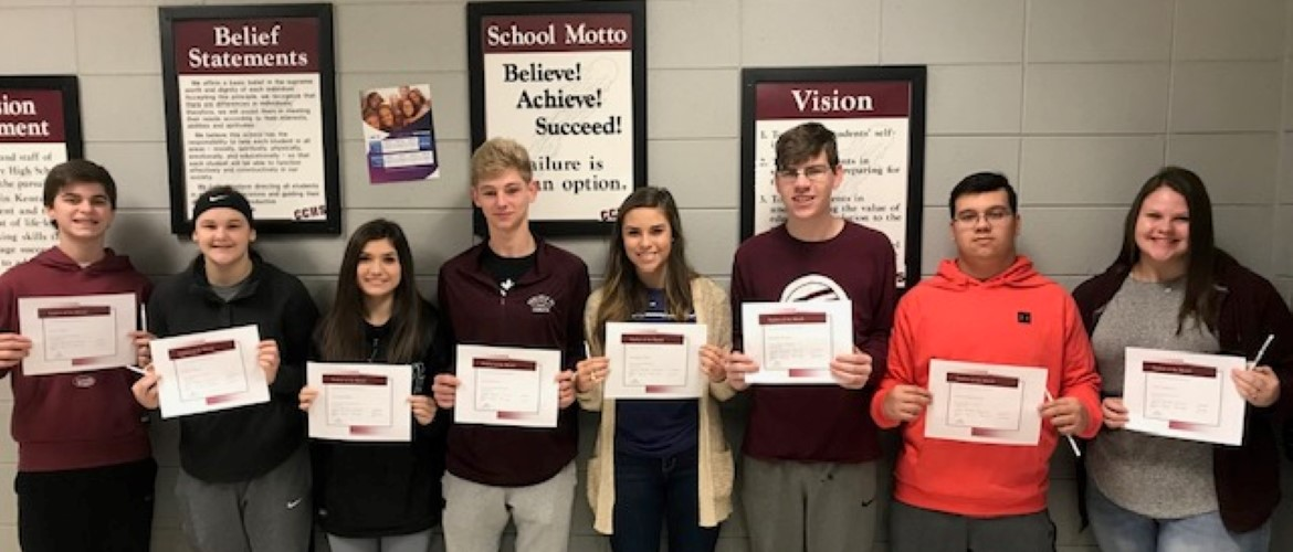 CCHS November and December Students of the Month: Freshmen:  Jarren Bruer and Karlie Gibson, Sophomores:  Hannah Draper and Josh Newsome, Juniors:  Carleigh O'Neill and Brayden Hooper, Seniors:  Keaton Hutchinson and Colby Eddlemon.