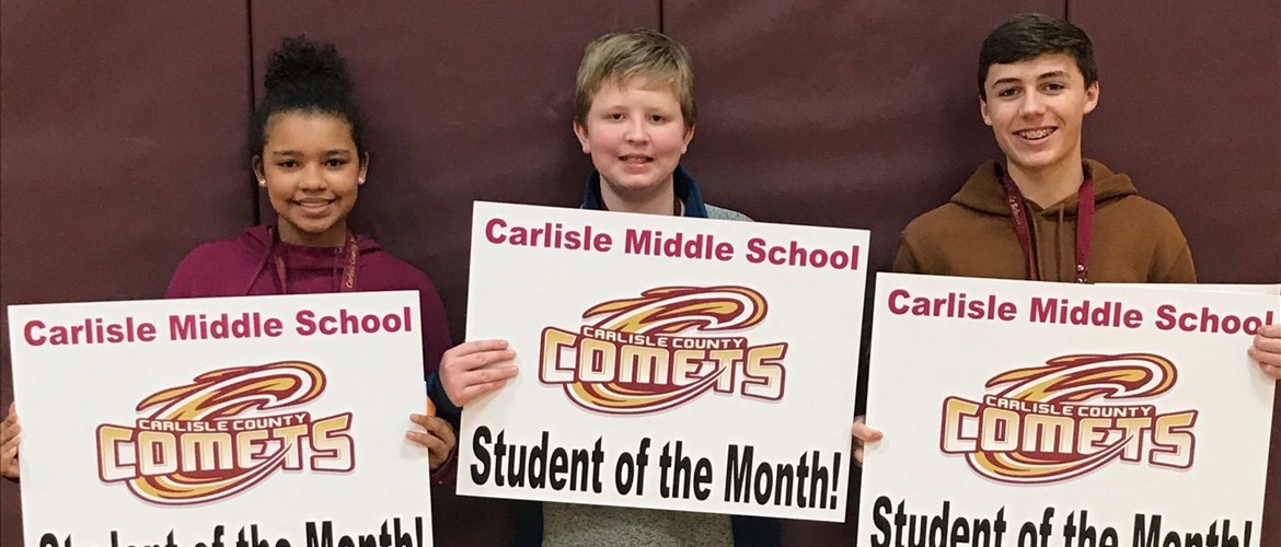 CCMS January Students of the Month for Responsibility.  Makenna Thomas-Sanders, Jake Thornsbrough, Kenton Arnold