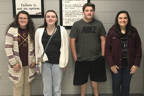 CCHS August Students of the Month (Left to Right) Lauren Mantle, Freshman Tori Benson, Sophomore Logan Wentworth, Junior Anna Carrico, Senior