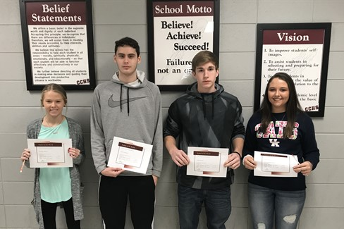 CCHS December Students of the Month Freshman -Mallory Wilson, Sophomore - Tyler Copeland, Junior - Chris Groves, Senior - Emily Newsome