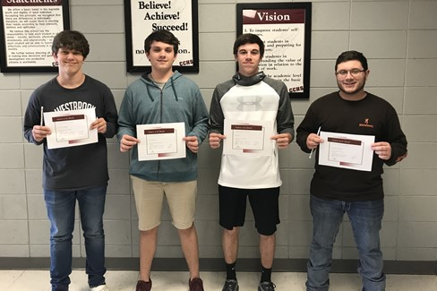 CCHS March Students of the Month From left to right Freshman, Cody Doublin; Sophomore, Zach Toon; Junior, Ian Fry; Senior, Chayton Brown