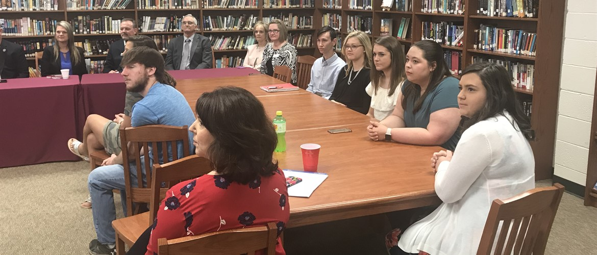 CCHS students and faculty listen to Interim Commissioner of Education, Dr. Wayne D. Lewis Jr., on site visit Friday May 11th.
