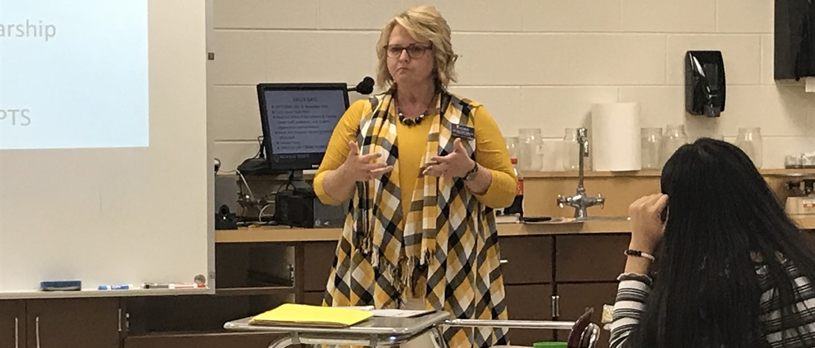 Guest speaker Lori Adams from Murray State speaking to Mr. O'Neill's classes on nursing and Murray state in general.
